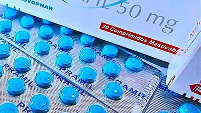 Caixas de Pramil, comprimidos azuis para tratar impotência sexual em homens